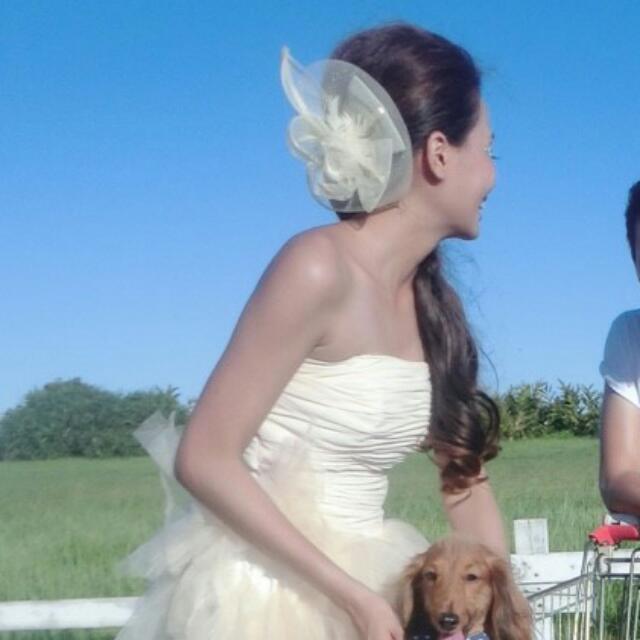 米白色髮飾 禮服 婚紗
