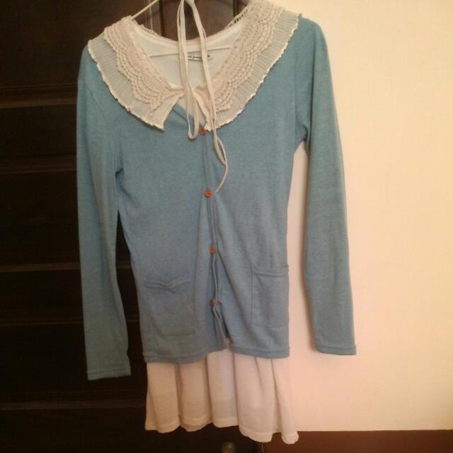 森林系 布蕾絲領洋裝🎀+藍色 木釦口袋外套 🌟一套200元