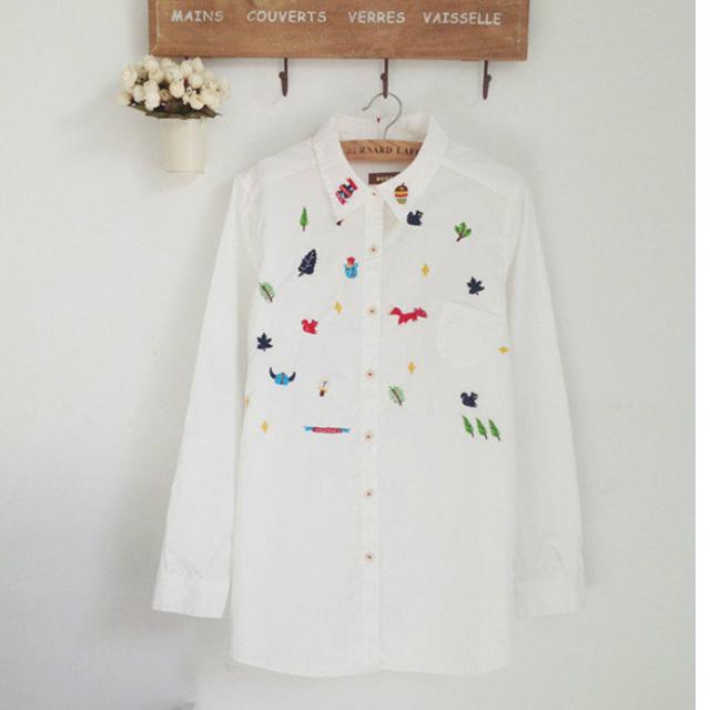 保留中 出清 降降降~日系 東京著衣 卡通 森林 刺繡 長袖 棉質襯衫 二手品