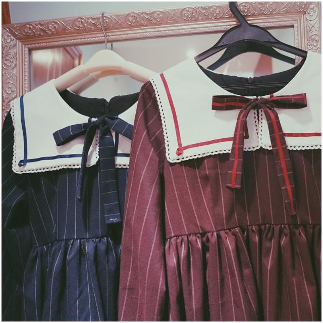 學院風海軍領制服蝴蝶結條紋連身裙 #蘿莉 cosplay