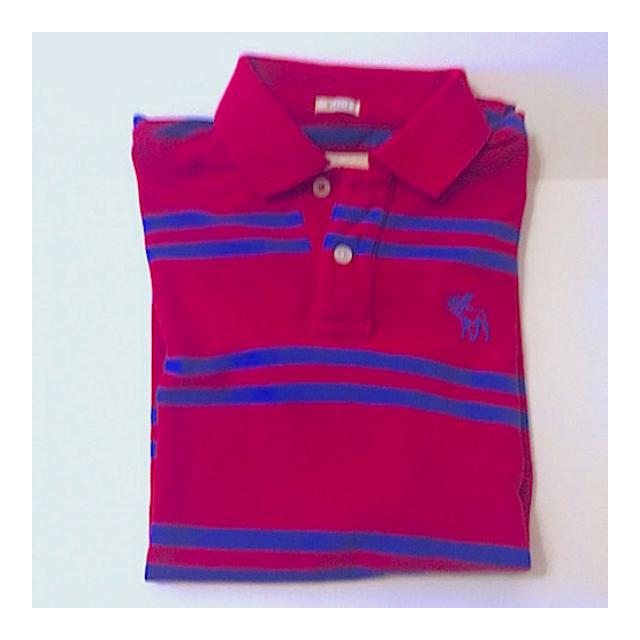 美國帶回全新Abercrombie & Fitch男生秋冬A&F紅色藍條紋刺繡短polo