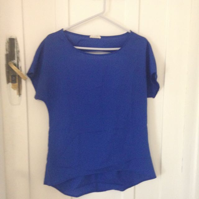 Blue Cut Out Back Blouse