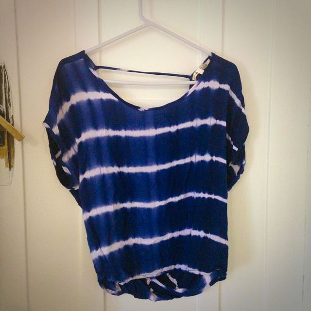 Blue Tie Dye Open Back Top