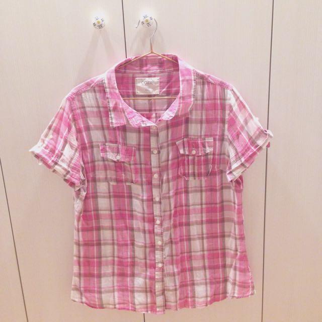 [二手]COZIE粉紅格子襯衫(含運)