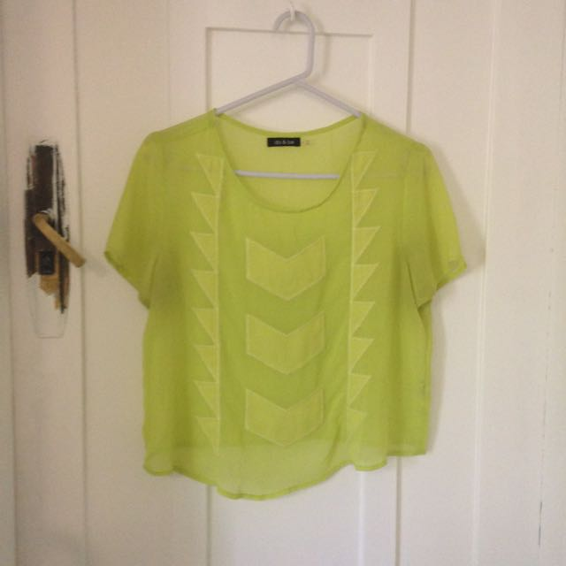 Neon Green Geometric Blouse