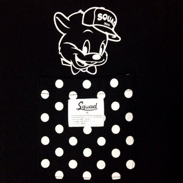 Squad x 傑利鼠 聯名 限量販售的黑色T恤 胸前還有小口袋