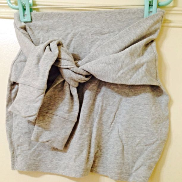 Zara TRF棉質假兩件綁腰灰色短裙
