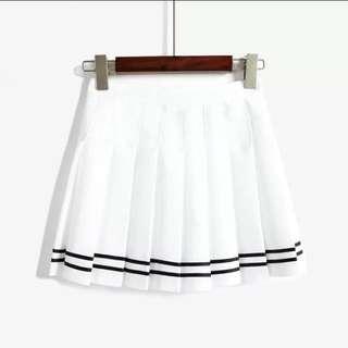 保留中 雙線高腰百褶裙