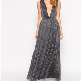 BRAND NEW Plunge Neck Maxi Dress in Glitter Fabric