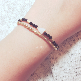 【Aube】 黑瑪瑙 x 水滴月光石 x 黃銅細鍊組 - 手作天然石黃銅手鍊 (2條)