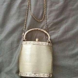 Golden Clutch With Strap