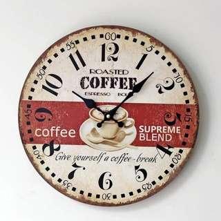實木無框coffe掛鐘 對 就是這麼創意