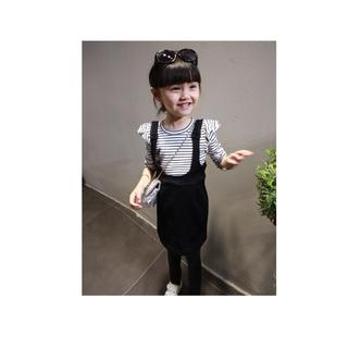 2015秋款女童韓版條紋假兩件長袖連身裙 編號521406038771
