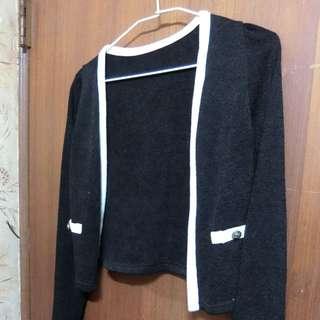 黑色小香風針織外套