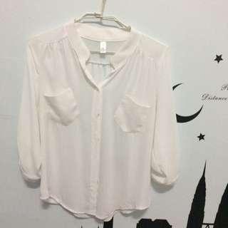 正韓 韓國連線買的 七分袖 雪紡立領襯衫
