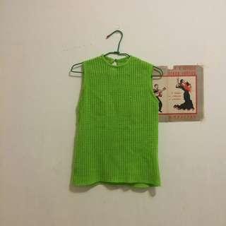 歐美針織蘋果綠背心