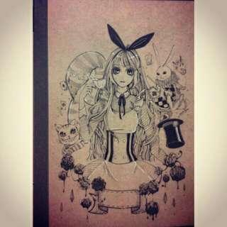 代針筆手繪筆記本。Alice in Wonderland