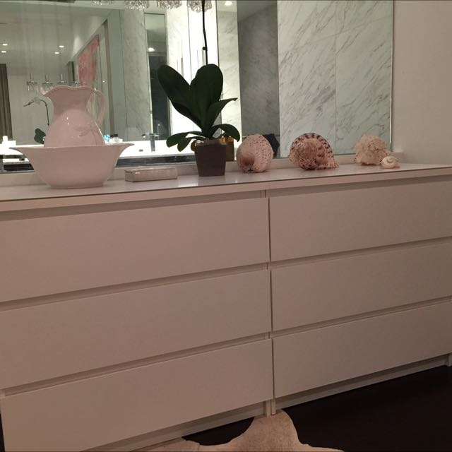 2 IKEA Malm White Chest Of 3 Drawers With White Glass Top. 2 IKEA Malm White Chest Of 3 Drawers With White Glass Top  Home