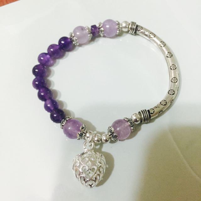 💓925心型純銀紫水晶手鍊💓