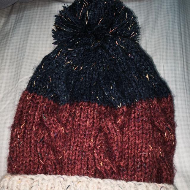 《二手衣物》可愛拼接三色毛線帽