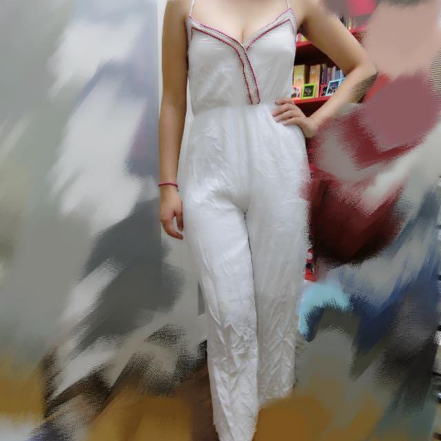 《二手衣物》民族風純白連身褲