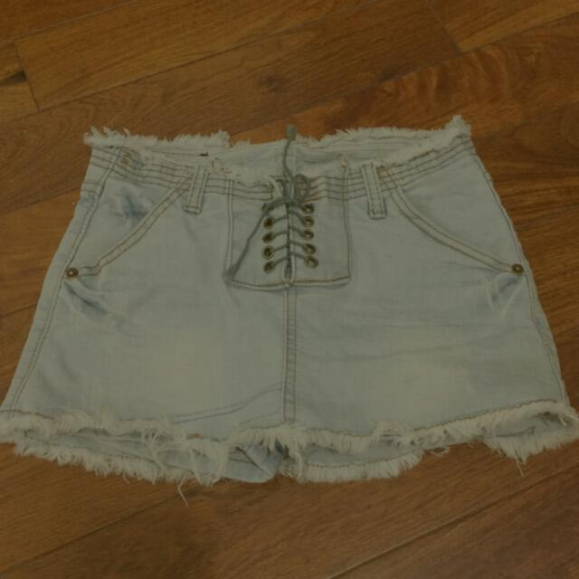 👉含運👈【二手】淺色刷白牛仔褲裙