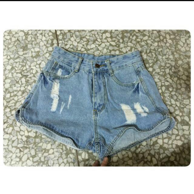 👉含運👈【全新】淺色高腰牛仔短褲
