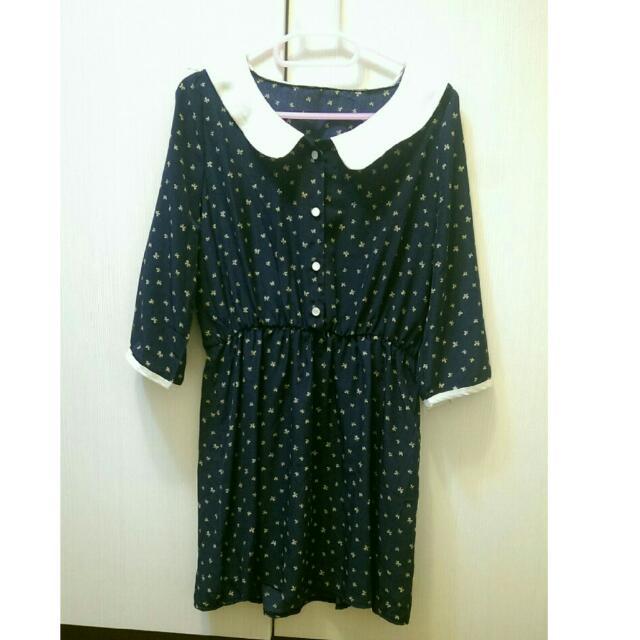 深藍蝴蝶結圖案薄洋裝