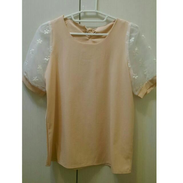 粉橘蕾絲袖上衣
