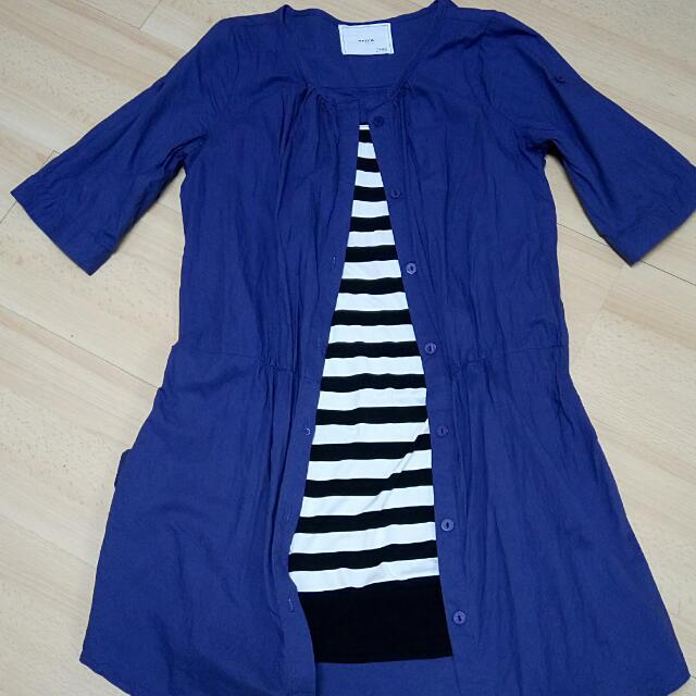 韓版藍色假兩件式長版上衣
