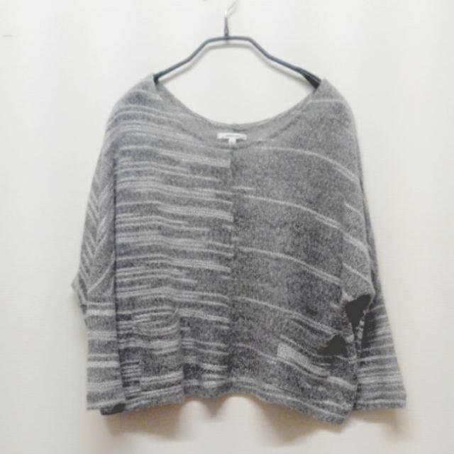 韓風寬鬆蝙蝠袖喇叭袖灰色針織口袋上衣 秋坑條 圓領衫 露肩 漸層短版