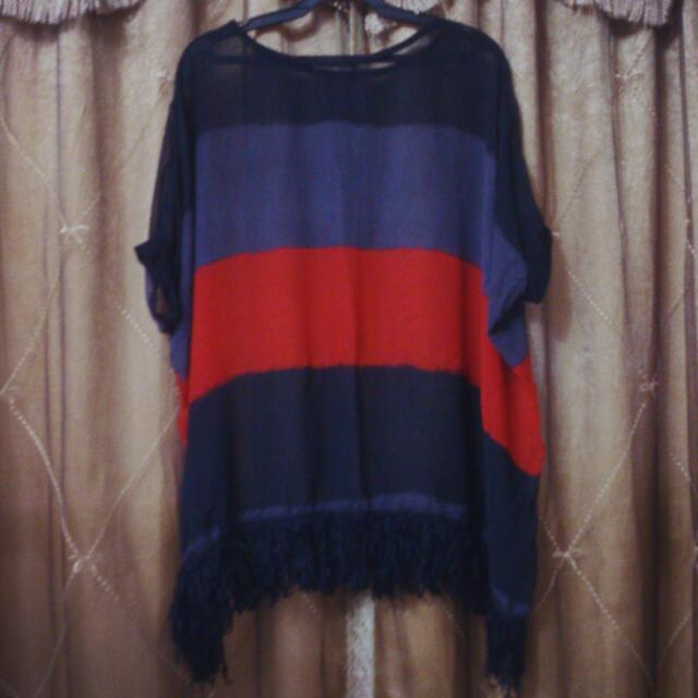 撞色條紋 蝙蝠袖 流蘇 雪紡罩衫 洋裝