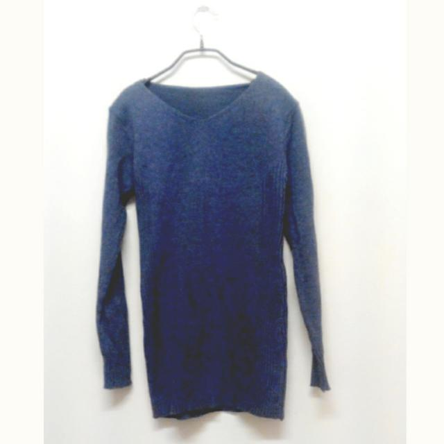 厚針織藍灰色坑條 條紋 長版毛衣 v領顯瘦 長袖毛衣 長版洋裝 T雪連衣裙 連身裙