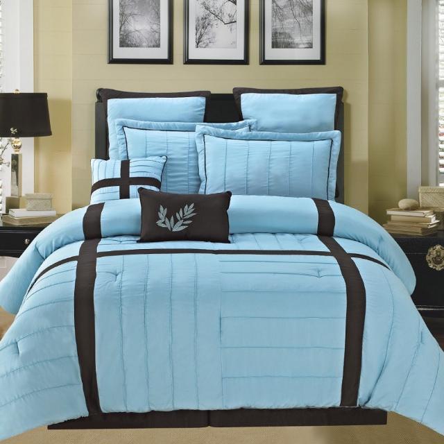Queen Sz 12pc Luxury Blue/ Chocolate Comforter
