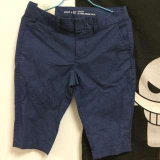 (全新)GAP 女生 五分褲 日本購入 深藍色細條紋 文青 春夏 降價