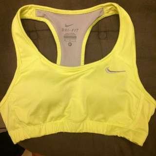 Nike螢光黃運動內衣