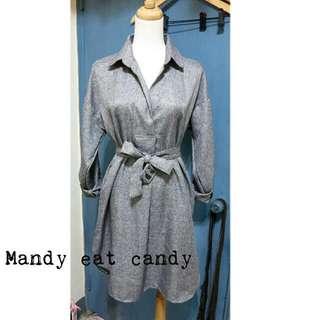 襯衫版v領綁帶洋裝