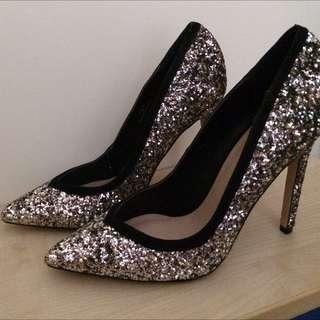 (保留中)全新超美Asos銀色亮片尖頭高跟鞋uk4/37號