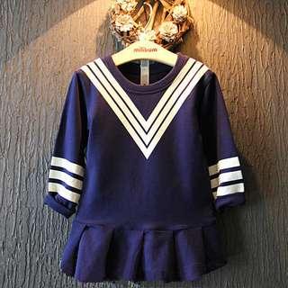 2015秋款女童韓版學院風條紋下擺褶皺設計裙衣 編號521402681274