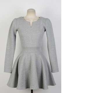 灰色抓皺小洋裝