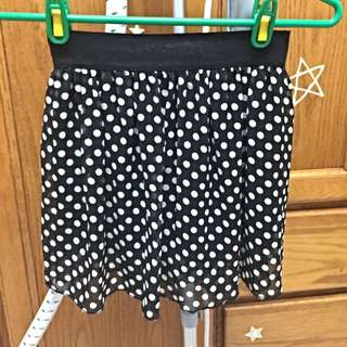 點點復古圓裙 鬆緊褲頭短裙