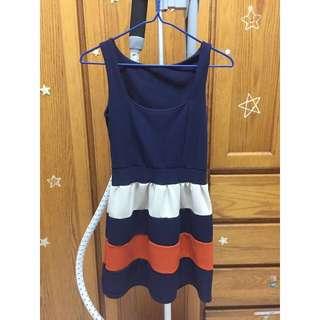 韓深藍條紋洋裝 修飾款