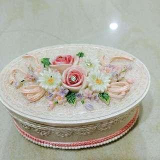 復古 玫瑰 鑲鑽 飾品盒 收藏盒