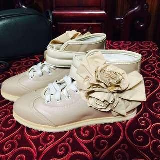韓風 氣質 玫瑰 小香 高筒 鞋 帆布鞋