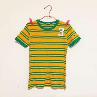 (含運)👻二手日本購入 正品 CHAMPION 冠軍潮牌 條紋短袖T恤 黃綠 古著 老品