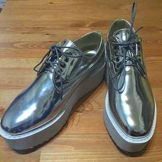 銀色牛津厚底鞋