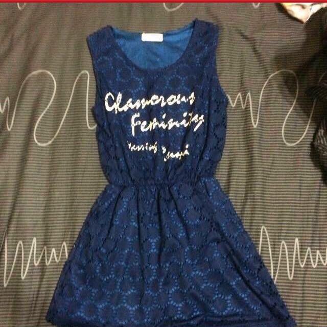 [待匯款]含運)蕾絲字母背心洋裝