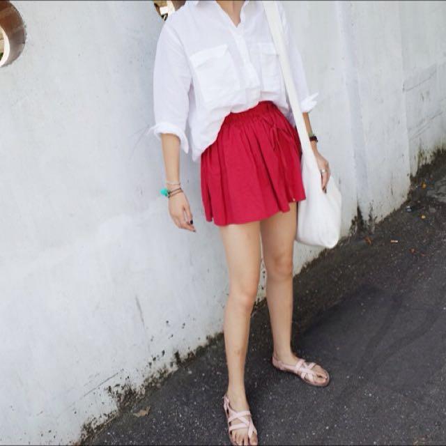 紅色棉麻小短褲裙