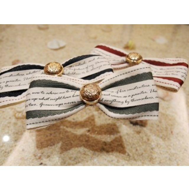 韓國🇰🇷英法學院風蝴蝶結🎀鈕扣造型設計髮夾