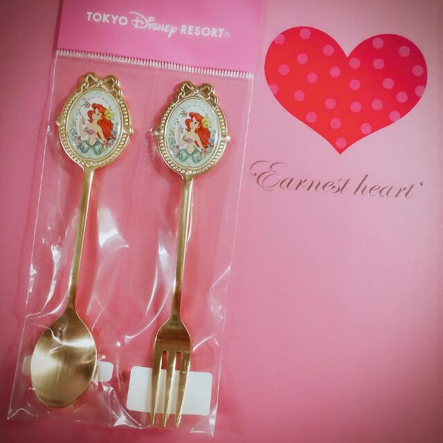 全新🆕東京迪士尼🏰 小美人魚 公主下午茶/點心叉匙組